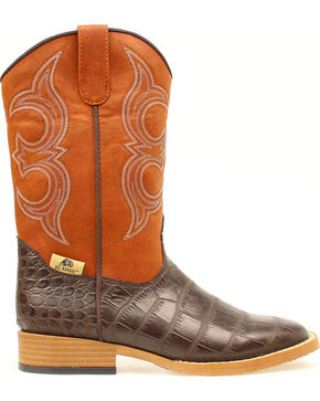Double Barrel Boys' Bronc Gator Cowboy Boots - Square Boots, Brown, hi-res