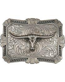 Montana Silversmiths Engraved Longhorn Buckle, , hi-res