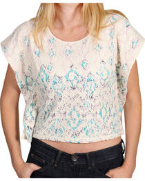 Shyanne® Girl's Chevron & Lace Poncho Crop Top, , hi-res