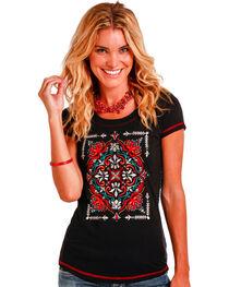 Panhandle Slim Women's Black Floral Medallion Embroidery Tee , , hi-res