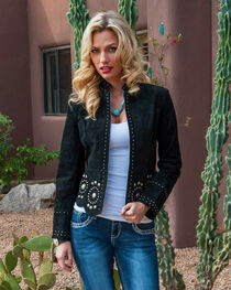 Scully Women's Stud and Concho Suede Jacket, , hi-res