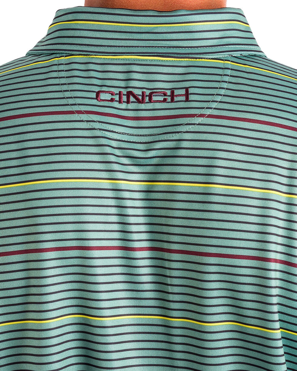 Cinch Men's Green Athletic Tech Striped Polo , Green, hi-res