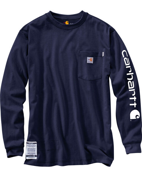 Carhartt Men's Flame Resistant Long Sleeve T-Shirt, Navy, hi-res