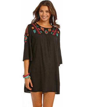 Rock and Roll Cowgirl Black Shift Flare Sleeve Dress, Black, hi-res
