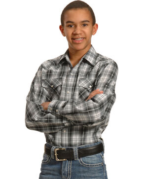 Ely Cattleman Boys' Black & Gray Lurex Plaid Shirt, Black, hi-res