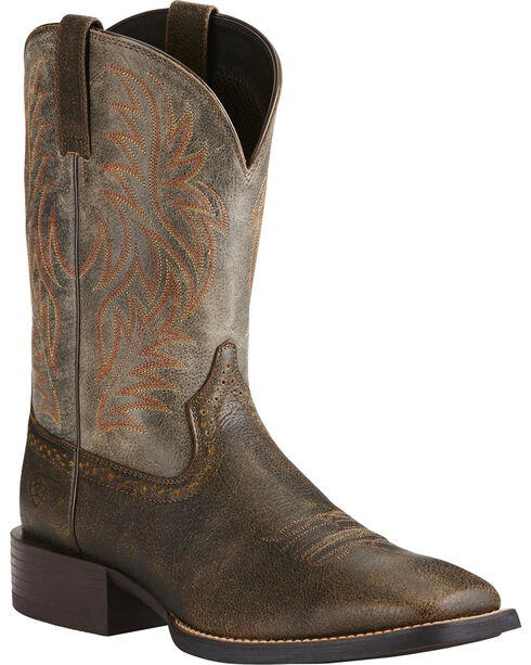 Ariat Men's Sport Wide Square Toe Western Boots, Brown, hi-res