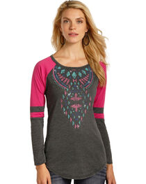 Rock & Roll Cowgirl Women's Aztec Graphic Varsity Tee, , hi-res