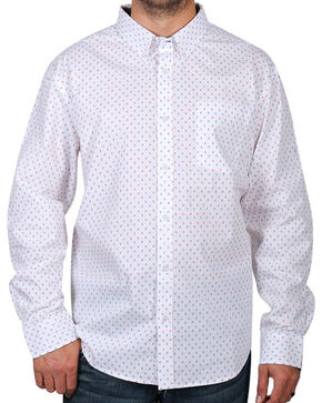 Cody James® Men's Printed Long Sleeve Shirt, White, hi-res