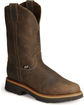 Justin Men's J-Max Steel Toe Work Boots, Chocolate, hi-res