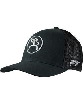 Hooey Men's Black Caddie Six Panel Trucker Cap , Black, hi-res