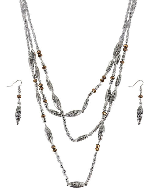 Shyanne® Women's Engraved Beaded Jewelry Set, Silver, hi-res