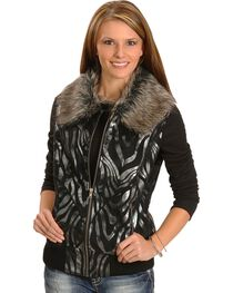 Powder River Metallic Zebra Print Vest, , hi-res