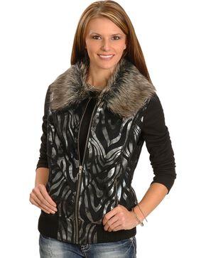Powder River Metallic Zebra Print Vest, Black, hi-res