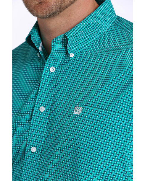 Cinch Men's Teal Print Short Sleeve Button Down Shirt, Teal, hi-res