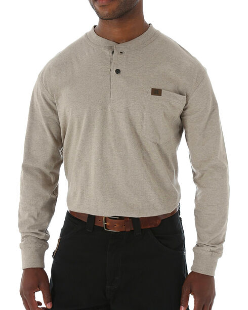 Wrangler Men's Riggs Workwear Long Sleeve Henley Shirt - Tall , Natural, hi-res