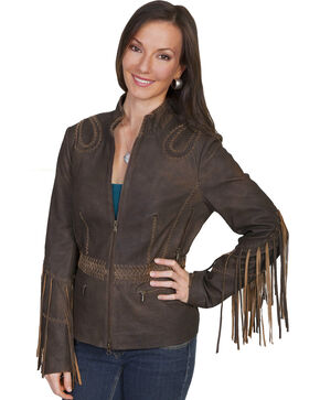 Scully Women's Fringe Leather Jacket, Brown, hi-res