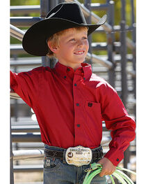 Cinch Boys' Red Button Down Western Shirt , , hi-res