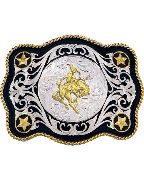 Montana Silversmiths Men's Scalloped Sheridan Belt Buckle, Multi, hi-res