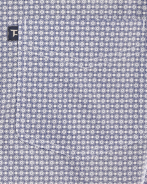 Tuf Cooper Performance Men's Blue Stretch Printed Shirt , Blue, hi-res