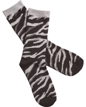 Shyanne Women's Zebra Print Crew Socks, Grey, hi-res