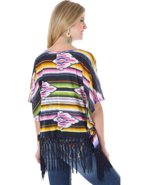 Wrangler Rock 47 Women's Serape Fringe Kimono, Black, hi-res