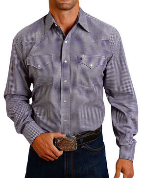Stetson Men's Plaid Printed Long Sleeve Shirt, Purple, hi-res
