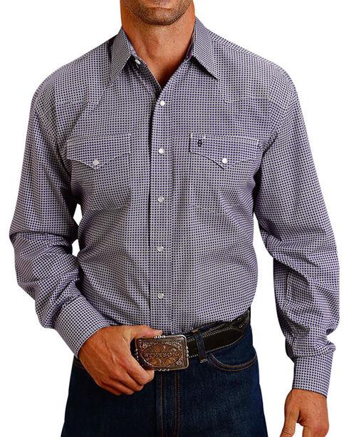 Stetson Men's Plaid Printed Long Sleeve Shirt, Purple, hi-res