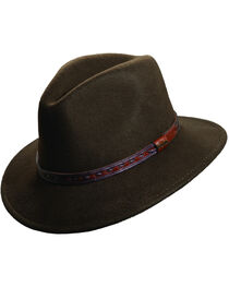 Scala Men's Olive Wool Felt with Leather Trim Safari Hat, , hi-res