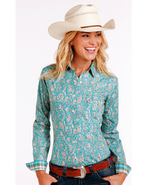 Rough Stock by Panhandle Women's Rue Cavallion Print Shirt - Plus Size , Turquoise, hi-res
