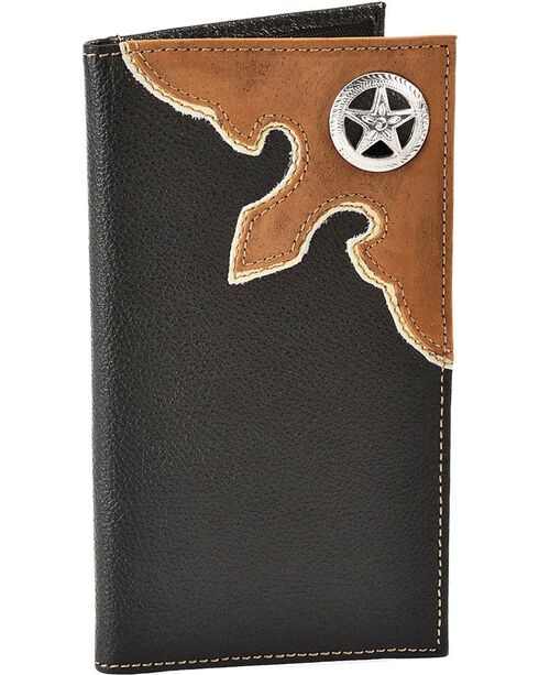 Nocona Star Concho Black Leather Checkbook Wallet, Black, hi-res
