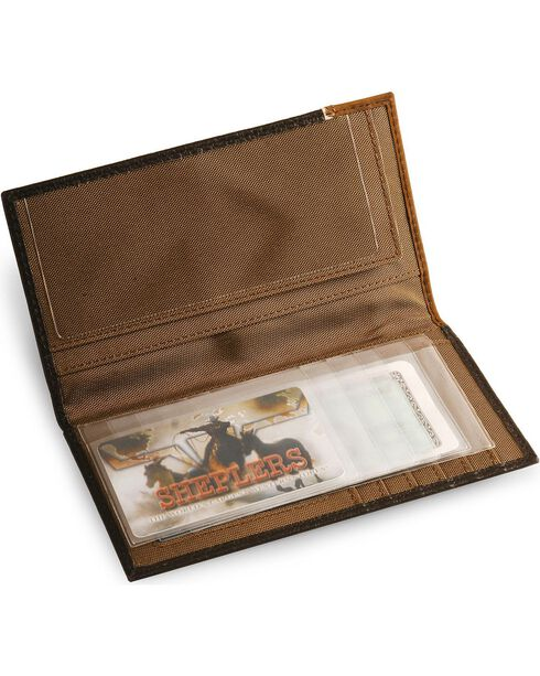 Nocona Star Concho Leather Checkbook Wallet, Brown, hi-res