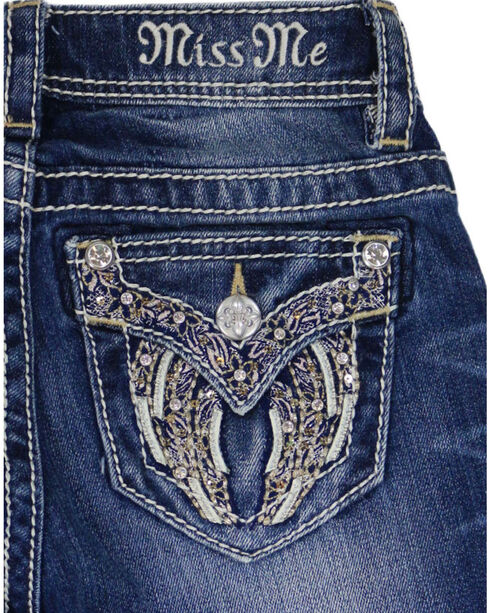 Miss Me Girl's Angel Wing Embroidered Boot Cut Jeans, Indigo, hi-res