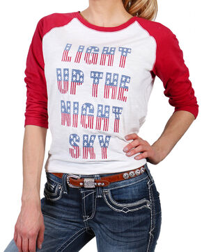 Shyanne Women's Embroidered Light Up the Night Sky Baseball Tee, Red, hi-res