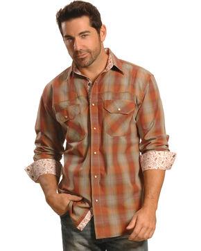 Crazy Cowboy Men's Rust Plaid Contrast Trim Western Shirt, Rust, hi-res