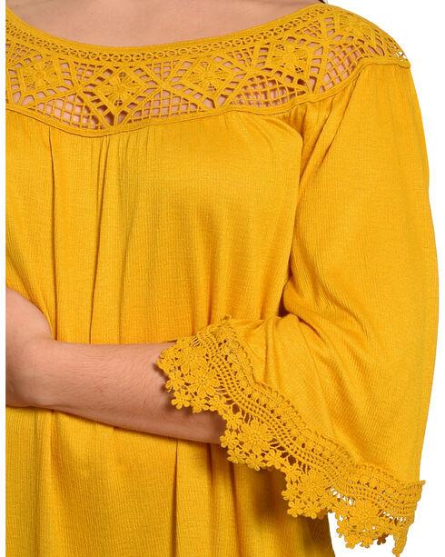 Eyeshadow Women's Yellow Crotchet Gauze Peasant Top - Plus , Yellow, hi-res