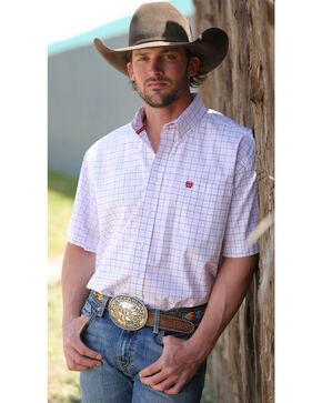 Cinch Men's White Short Sleeve Plain Weave Shirt - Big and Tall, White, hi-res