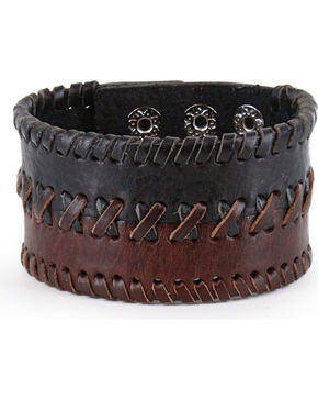 Moonshine Spirit® Men's Braided Leather Cuff , Dark Brown, hi-res