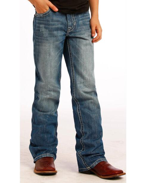Rock & Roll Cowboy Boys' X Stitched Boot Cut Jeans, Indigo, hi-res