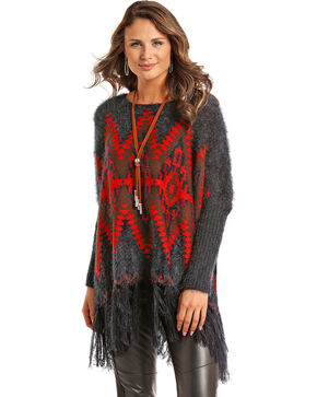 Powder River Outfitters Women's Grey Aztec Fringe Pullover , Grey, hi-res
