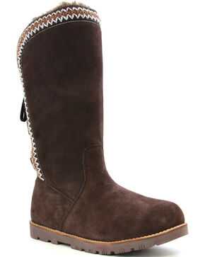 Lamo Women's Madelyn Suede Winter Boots - Round Toe, Chocolate, hi-res