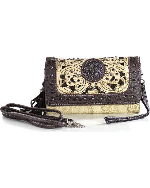 Savana Women's Tooled Bone Studded Wristlet Wallet, Ivory, hi-res