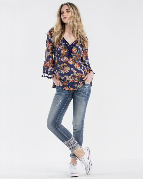 Miss Me Women's Floral Frenzy Long Sleeve Peasant Shirt, Navy, hi-res