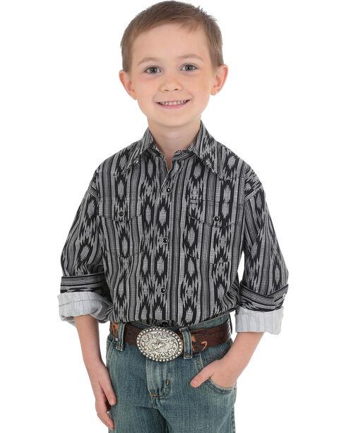 Wrangler Boys' Checotah Print Long Sleeve Shirt, Black, hi-res
