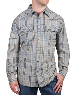 Moonshine Spirit® Men's Trigger Plaid Long Sleeve Shirt, Grey, hi-res