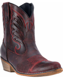Dingo Women's Red Flat Bush Short Western Boots - Round Toe, , hi-res