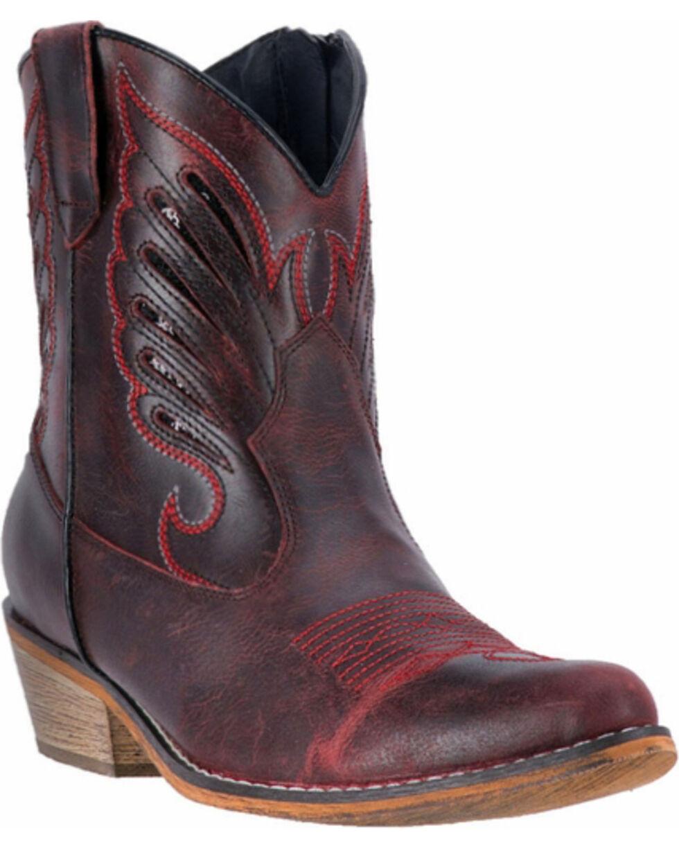 Dingo Women's Red Flat Bush Short Western Boots - Round Toe, , hi-res
