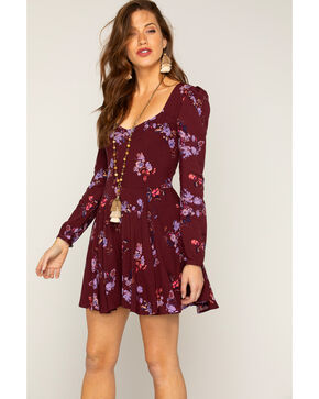 Shyanne® Women's Floral Long Sleeve Dress, Purple, hi-res