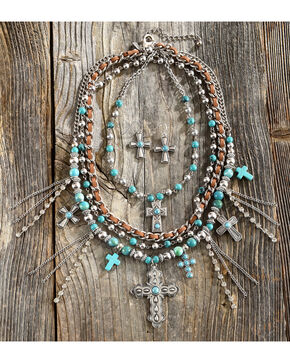 Shyanne Women's Beaded Cross Jewelry Set, Turquoise, hi-res