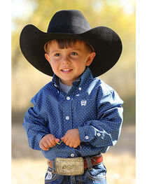 Cinch Toddler Boys' Dot Patterned Button Down Long Sleeve Shirt, , hi-res