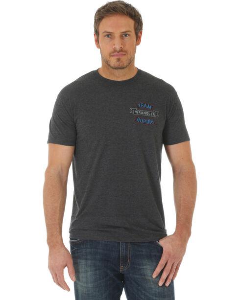 Wrangler Men's Team Roping Short Sleeve T-Shirt, Charcoal, hi-res